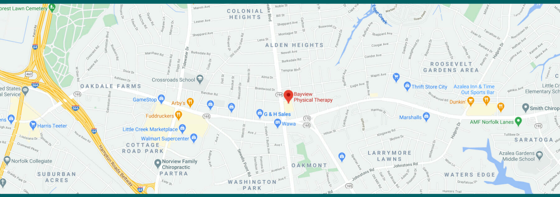 Visit Bayview Physical Therapy Map in Norfolk, Virginia